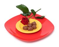 Chocolate hearts and rose Royalty Free Stock Image