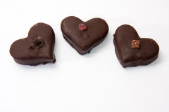 Chocolate hearts on a white background Royalty Free Stock Photo