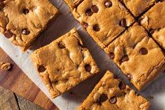 Chocolate hecho en casa Chip Blondies Imagenes de archivo
