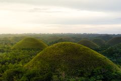 Chocolate Hill in Bohol Island, Philippine. The Chocolate Hills are a geological formation in the Bohol province of the Philippines Royalty Free Stock Photo