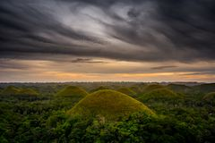 Chocolate Hill in Bohol Island, Philippine. The Chocolate Hills are a geological formation in the Bohol province of the Philippines Stock Photo