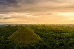 Chocolate Hill in Bohol Island, Philippine. The Chocolate Hills are a geological formation in the Bohol province of the Philippines Royalty Free Stock Photos