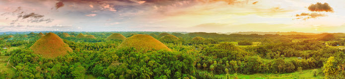 Chocolate Hills. Panorama of The Chocolate Hills. Bohol, Philippines Royalty Free Stock Photos