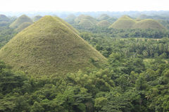 Chocolate hills bohol island philippines. Unusual topography of the Chocolate hills of bohol island in the philippines Royalty Free Stock Photos