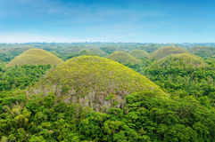 The Chocolate Hills of Bohol Island, Philippines. The Chocolate Hills are unique geological formations at Bohol Island, Philippines.They are covered in green Stock Images