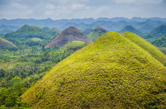 Chocolate hills in Bohol, some Clouds in Background, Philippines Royalty Free Stock Photos