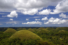 Chocolate hills in clouds Stock Photography