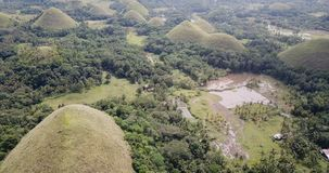 Chocolate hills. On the island of Bohol, Philippines stock footage