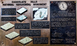 Chocolate Hills National Geological Monument Brass Plaque Stock Photos