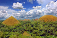 Chocolate Hills natural landmark. Panorama of the Bohol Chocolate Hills natural landmark, a very prominent and famous tourism geography spot in the Philippines Royalty Free Stock Photo