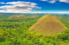 Chocolate hills, Philippines. Chocolate hills panorama, Bohol island, Philippines Stock Image