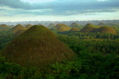 Chocolate hills in the Philippines. Mysterious, geological formations near Bohol in the Philippines stock photo