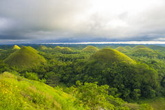 Chocolate Hills Philippines. View of Chocolate Hills in late afternoon, Carmen, Bohol, Central Visayas, Philippines Royalty Free Stock Image