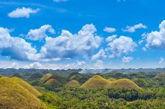Chocolate Hills at sunny day, Bohol, Philippines stock image