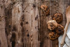 Cookies and on the wood table Royalty Free Stock Photos