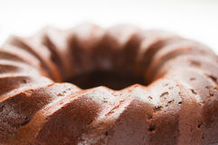 Chocolate honey cake and on white plate close up. Macro Stock Image