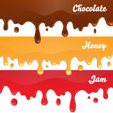 Chocolate, honey, jam drips on white background Royalty Free Stock Image