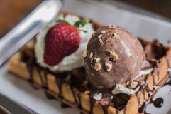 Chocolate honey toast select focus Royalty Free Stock Images