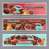 Chocolate horizontal banners with various tasty Stock Photo