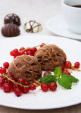 Chocolate ice cream. With red currants and caramel topping Royalty Free Stock Photo
