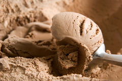 Chocolate ice cream. A scoop of chocolate ice cream Royalty Free Stock Photo