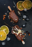 Chocolate ice cream with almond nuts Stock Image