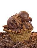 Chocolate ice cream balls in big cone. Studio shot of delicious scene Royalty Free Stock Photos