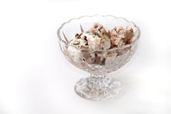 Chocolate ice cream balls served in a crystal bowl Stock Images