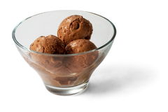 Chocolate Ice-cream balls in transparent glass. Over white background Stock Image