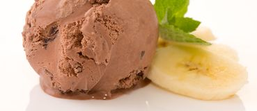 Chocolate Ice cream and banana. Chocolate Ice cream and banana pieces  on white Stock Image