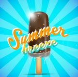 Chocolate ice cream bar on a stick, summer breeze concept. Illustration of chocolate ice cream bar on a stick, summer breeze concept Stock Photography