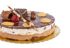 Chocolate ice cream cake with biscuits Stock Photo