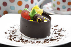 Chocolate ice cream cake. A chocolate ice cream cake is very sweet and delicious Stock Images