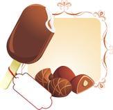 Chocolate ice cream and candies Stock Photos