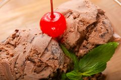 Chocolate ice-cream. With mint and cherry Royalty Free Stock Images