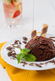 Chocolate ice cream, closeup Royalty Free Stock Photos