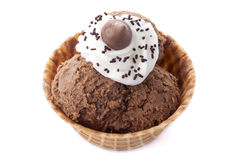 Chocolate ice cream cone. Candy carb Royalty Free Stock Photo