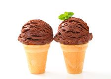 Chocolate ice cream cones Stock Photos
