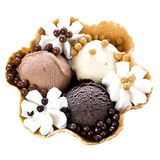 Chocolate Ice Cream with Cream in Waffle Bowl Royalty Free Stock Photo
