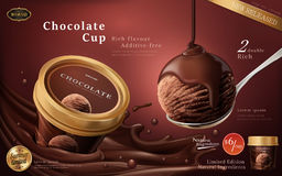 Chocolate ice cream cup ads. A scoop of premium chocolate ice cream with flowing sauce in 3d illustration  on scarlet color background Royalty Free Stock Images