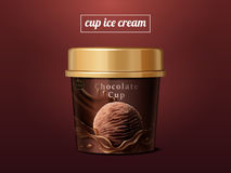 Chocolate ice cream cup mock up. Premium ice cup package design in 3d illustration isolated on scarlet background Royalty Free Stock Photo