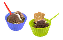 Chocolate ice-cream in cups Royalty Free Stock Photo