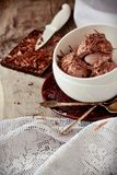 Chocolate ice cream decorated Stock Photography