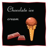 Chocolate ice cream. Dessert on a black background for the menu of the restaurant and cafe. Shokoada tiles.  Icon of food on a bla. Ck  background Royalty Free Stock Photos