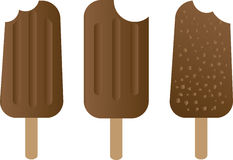 Chocolate ice-cream dessert on wooden stick Stock Image