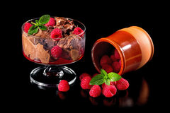 Chocolate ice cream with fresh raspberries. Isolated on a black background Royalty Free Stock Images
