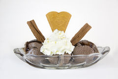 Chocolate ice cream in a glass dish isolated on a white backgrou Royalty Free Stock Photo