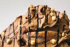 Chocolate ice cream with hazelnuts in the metal tray Stock Photography