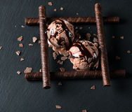 Chocolate ice cream ice cream served with wafer sticks Stock Images