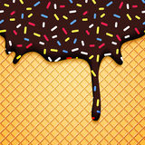 Chocolate Ice Cream Illustration with Wafer Royalty Free Stock Photography